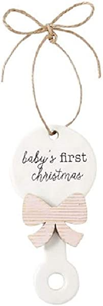Mud Pie Unisex Baby S First Christmas Rattle Ornament Pink One Size