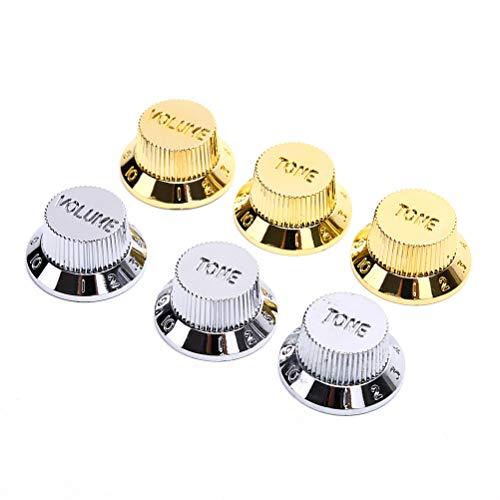 RUIYELE 2 perillas de control de pedal para guitarra eléctrica y bajo de tono, volumen de velocidad,tono de volumen,pomos de control de pedal cromados para guitarras eléctricas de estilo Fender Strat