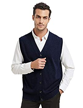 TOPTIE Mens Sweater Vest Solid Knitted Lightweight Thermal Cardigan-Navy-L