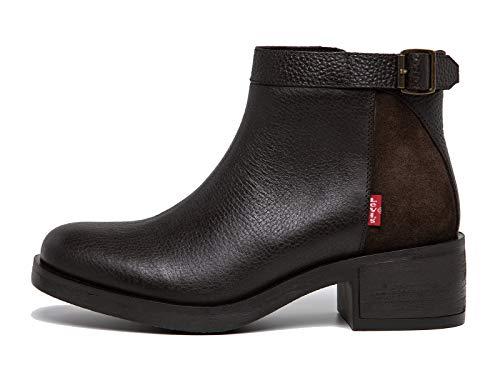 Levi's Damen Schuhe MEISS - Stiefeletten, Ankle Boots, Blockabsatz, Glatt-Leder Dunkelbraun 38 EU