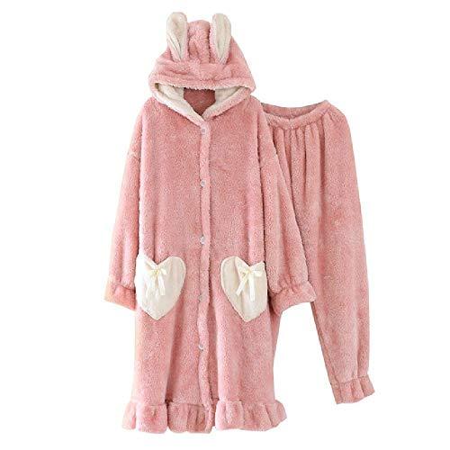 SKJKT Pyjama für Damen, Herbst und Winter, süßer Kapuzenpullover aus dickem Coral-Fleece, große Größe, lose Lange Bademantel und Hose Gr. Large, Rose