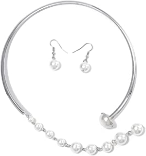 Yokawe Bridal Pearls Choker Earrings Set Silver Necklaces Wedding Bride Prom Necklace Jewelry Accessories for Women and Girls