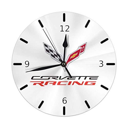Merryfull Wanduhr Silent Non Ticking Runde Wanduhren, Corvette Apparel Racing Logo Uhren 10 Zoll batteriebetriebene Quarz Analog Quiet Tischuhr für Zuhause, Büro, Schule