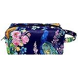 Dos pavos reales y flores de viaje bolsas de cosméticos bolsa de cosméticos para mujer de piel de microfibra con cremallera