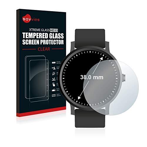 Savvies Panzerglas kompatibel mit Armbanduhren (Kreisrund, Durchmesser: 38 mm) - Echt-Glas, 9H Härte, Anti-Fingerprint