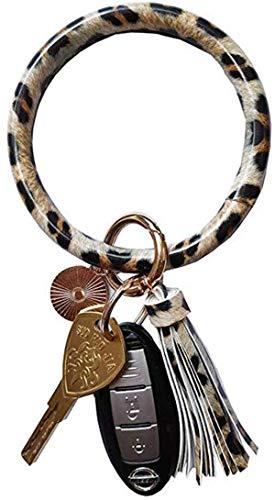 Frauen Armband Schlüsselbund Armband Armreif Schlüsselanhänger Armreif Leder O Schlüsselanhänger Schlüsselanhänger mit Quaste (A1 Leopard)