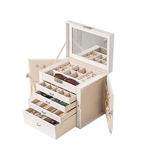 XIAOXIAO Joyero organizador de 5 niveles, gran capacidad con espejo y cerradura, caja de almacenamiento de joyas de cuero para mujeres y niñas, anillo de reloj y pulsera (color: blanco)