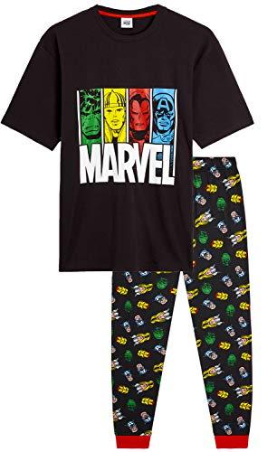 Marvel Pigiama Uomo - Set Pigiami Cotone Lungo 2 Pezzi 100% Cotone con Maglietta Supereroi Avengers Captain America Hulk Thor Iron Man E Pantaloni Estivi - Idee Regalo Uomo Compleanno (M)