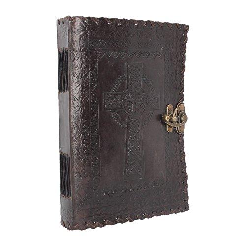 Nemesis Now Tagebuch mit Schloss, keltisches Kreuz, Leder, 28 cm, Braun