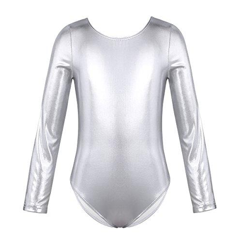 iEFiEL Body da Balletto Bambina Body da Ginnastica Artistica Ragazza Leotard a Maniche Lunghe Body da Danza Classica Allenamento Abito da Ballo a Metallico 3-12 Anni Argento 8-10 Anni