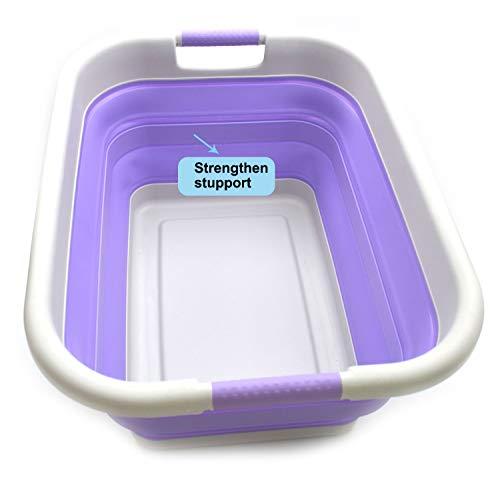 SAMMART Faltbarer Kunststoff-Wäschekorb - Faltbarer Aufstellbehälter/Organizer - Tragbare Waschwanne - Platzsparender Korb/Korb (Grau/Lt. Purple, 1)