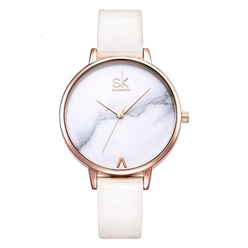 SHENGKE shengke señoras Reloj de Pulsera Creativas Mujeres Relojes Marca Reloj Mujeres Malla Vestido Reloj (K0039L-White)