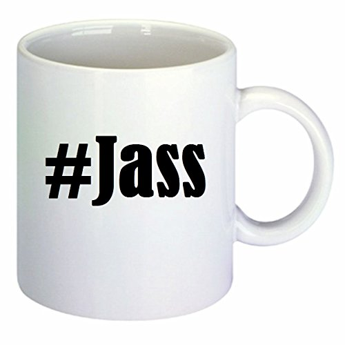 Koffiemok #Jass Hashtag ruit keramiek hoogte 9,5 cm ? 8 cm in wit