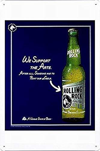HAIMAX - Cartel de metal personalizado con letreros de metal (20 x 30 cm) de Rolling Rock Beer: soporte para bar, bodega, granja, lavandería, sala de gimnasio, decoración