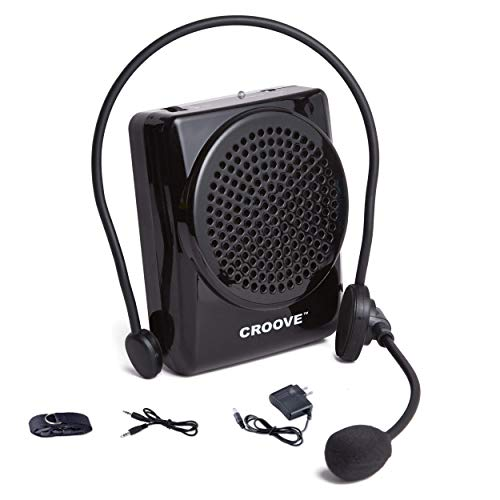 Croove Rechargeable Voice Amplifier | Portable Microphone with Headset, Supports MP3 | Mini Voice Amplifier Ideal for Teachers & Singing | Waist/Neck Band & Belt Clip
