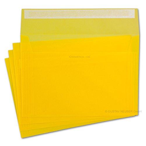 50x Briefumschläge Transparent Gelb - DIN C5-162 x 229 mm - Cromático, ca.®