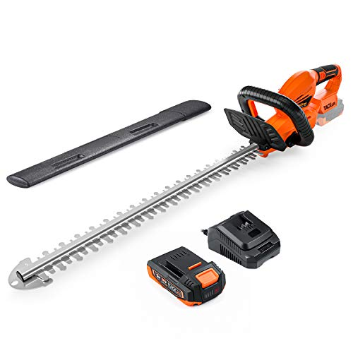 TACKLIFE Hedge Trimmer, 20V 2Ah, Cordless Hedge Trimmer/Cutter, Rotating Rear Handle, with Battery and Charger,22 in Blade Length, 3/4 in Cutting Gap, with Blade Cover - DHT1A