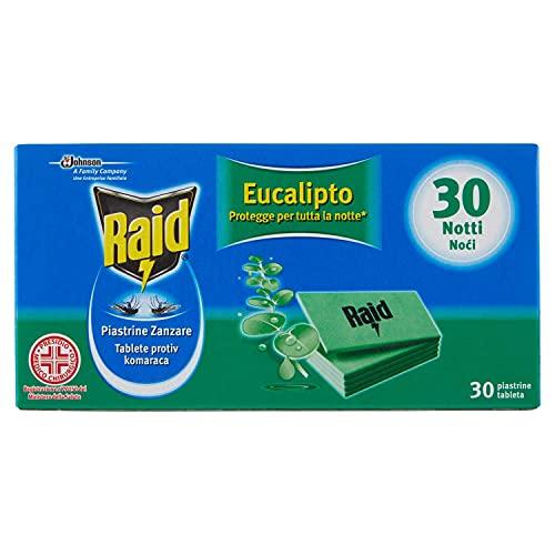 Raid Piastrine Zanzare Ricarica, profumazione Eucalipto - Confezione da 30 Pezzi, 30 Notti