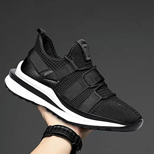 Fnho Casual Senderismo Calzado,Calzado de Running para Hombre,Zapatillas de Deporte Transpirables de Moda, Zapatillas de Deporte de Red Casual-Black_44
