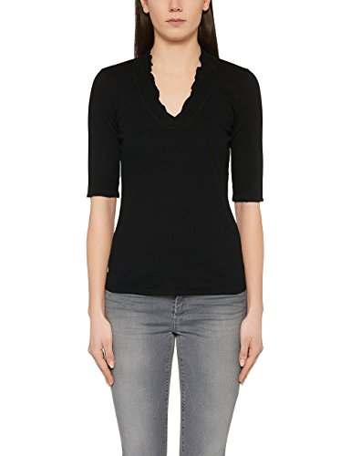 Marc Cain Essentials Damen T-Shirt +E4859J50, Schwarz (Black 900), 46 (7)