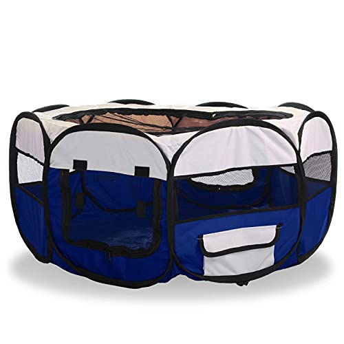CellDeal Folding Fabric Pet Play Pen Puppy Dog Cat Rabbit Guinea Pig Playpen Run Cage Blue