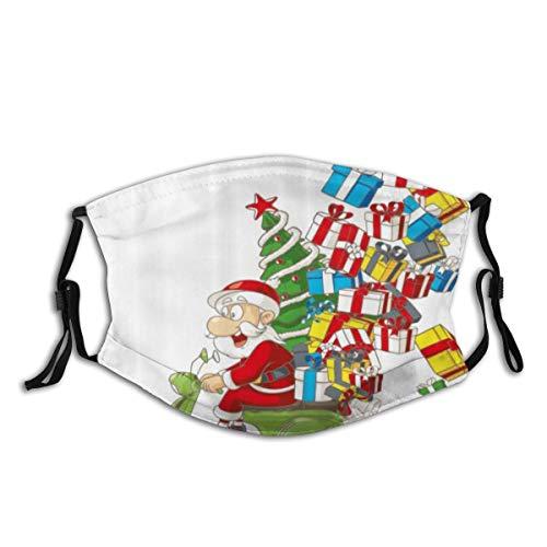 WINCAN Gesichtsbedeckung,Weihnachts-Weihnachtsmann auf Motorrad-Druck,Sturmhaube Unisex Wiederverwendbare Winddichte Anti-Staub-Mund Bandanas Halsmanschette mit 2 Filtern