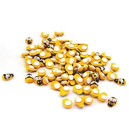 OMMO LEBEINDR Nevera Vinilo Decorativo Creativo Mini Amarillo Forma de la Abeja de Madera Etiquetas Autoadhesivas 10 PCS Manos en los Regalos de Juguetes