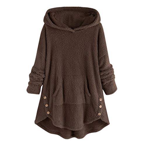 Lazzboy Frauen Vlies Knopf Rand Plus Größen Hoodie Spitzenstrickjacke Bluse Damen Wärme Pullover Flauschige Kapuzenpullover Mantel Fleece Fell Sweatshirt Parka(Kaffee,5XL)