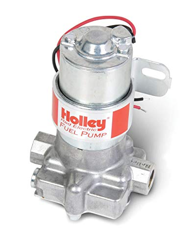 NEW HOLLEY 97 GPH RED ELECTRIC FUEL PUMP WITH BRACKET,STREET & STRIP CARBURETED APPLICATION,COMPATIBLE WITH GASOLINE ONLY