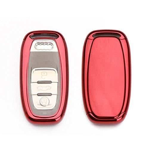 HUAQIANYU Car Accessories Key Shells,Car Key Cover Case Keychain ,Tpu Car Key Case Cover For Audi A1 A3 A4 A5 A6 A7 A8 Quattro Q3 Q5 Q7 2009 2010 2011 2012 2013 2014 2015,C,BlueC-Red