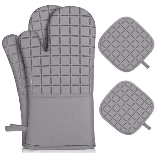 KEGOUU Oven Mitts and Pot Holders 4pc Set,500℉ Heat Resistant Oven Mits and Potholders,Extra Long...