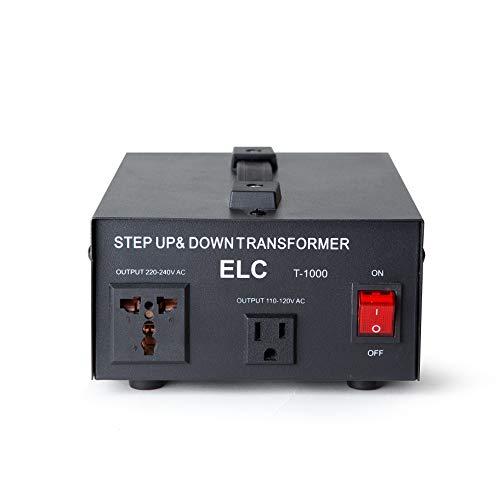 ELC T Convertidor Transformador de Voltaje  Paso Arriba/Abajo 110V/220V Protecciónde disyuntor, 5000 Watts