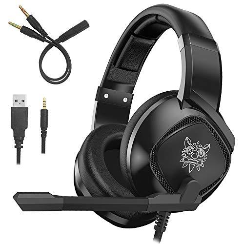 ONIKUMA K-19 Gaming Headset Compatible PS4 Nueva Xbox One PC Mac, Auriculares para Colocar sobre Las Orejas con micrófono Aislamiento de Ruido Deep Bass Surround con Luces LED de AFUNTA
