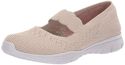 Skechers Seager-Power Hitter-Engineered Knit Mary Jane, Mercedita Plana para Mujer