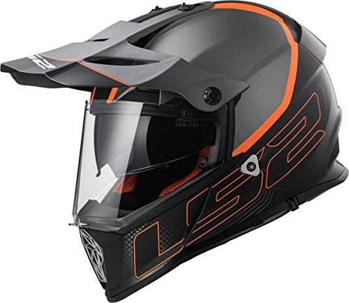 LS2 - Casco para moto Mx436 Pioneer Element, color negro titanio mate, XXL