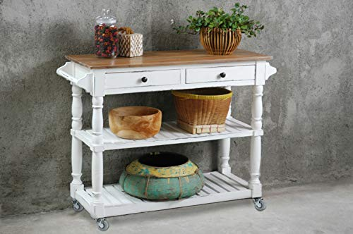 Sunset Trading Shabby Chic Cottage Kitchen Island with Casters, Whitewash, Salvage