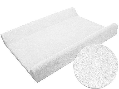 Sábana ajustable/funda para cambiador de bebé 70 x 50 cm con bordes elevados - blanco