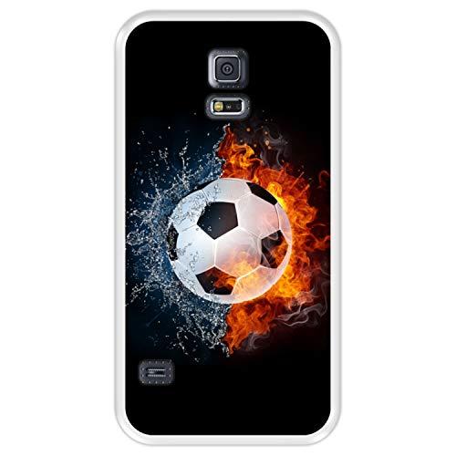 Hapdey Funda Transparente para [ Samsung Galaxy S5 ] diseño [ Fuego y Agua, balón de Futbol ] Carcasa Silicona Flexible TPU