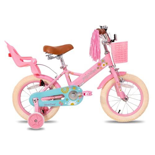 """JOYSTAR Little Daisy 16 Zoll Kinderfahrrad für 4 5 6 7 Jahre Mädchen mit Handbremse 16\"""" Kinder Prinzessinnenfahrrad mit Stützrädern Korb Streamer Kleinkinderfahrräder Rosa"""