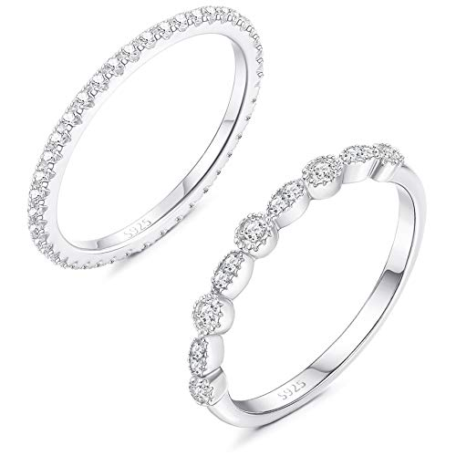 Sllaiss 925 Sterling Silver CZ Engagement Rings for Women Cut Cubic Zirconia Eternity Band Rings Promise Anniversary Wedding Jewelry Size 6