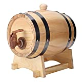 Cakunmik 1.5 litros Barril de Madera Maciza Barril Horizontal Cerveza Barril de Madera Barril de Madera Decoración de Barra Simple Adecuada para Todo Tipo de Vino fácil de Usar