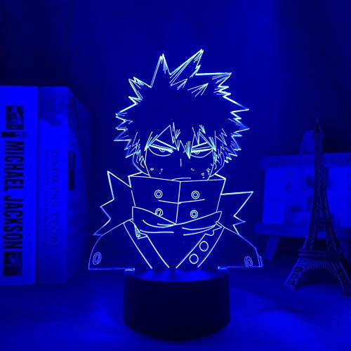 Lámpara de anime 3D con luz nocturna de My Hero Academia para decoración de dormitorio, regalo de cumpleaños, manga Gadget My Hero Academia Katsuki Bakugo, mando a distancia