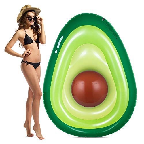 Obuby Inflatable Avocado Pool Float Floatie with Ball Fun Pool Floats Floaties Summer Swimming Pool Raft Lounge Beach Floaty Party Toys for Kids Adults