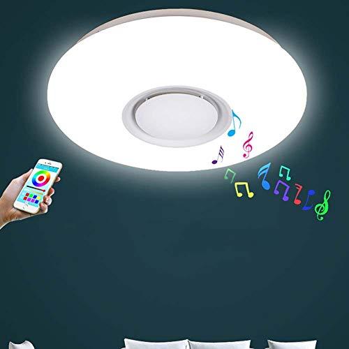 -Luces de Techo Luz de techo LED con altavoz Bluetooth, lámpara de techo de música moderna regulable, aplicación for teléfono móvil, cambio de color RGB Temperatura blanca cálida accesorio de iluminac
