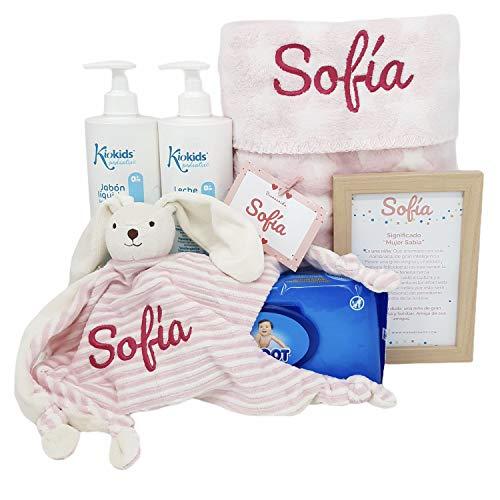 Soft And Happy | Mababy Canastilla bebe | Cesta Recien Nacido | Regalo Bebe Personalizado (Rosa)