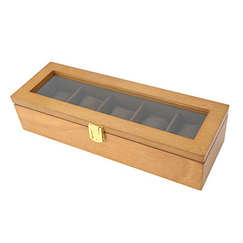 CCEKD Holzkiste Retro Holz Schiebedach Uhrenbox Five-Pack Uhrenbox Sammlung Aufbewahrungsbox Schmuckschatulle, Holz, 34 * 11,2 * 7,7 cm