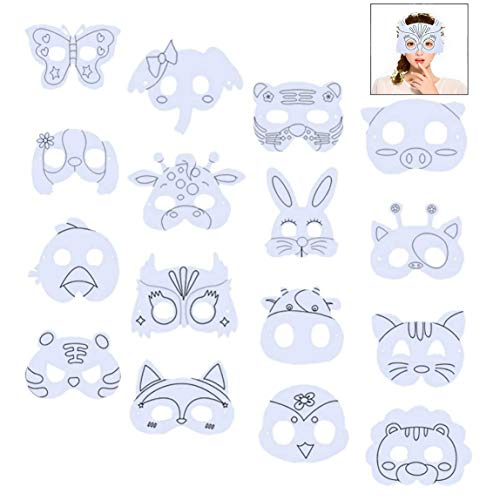 Xrten 16 Stücke Masken zum Ausmalen, Kinder Tiermasken Tiergesichtsmasken Blanko Bemalen Masken für Kindergeburtstag und Karneval