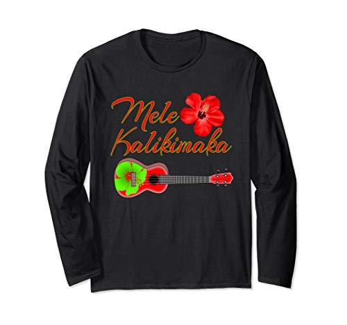 Mele Kalikimaka Hawaiian Ukulele Long Sleeve T-Shirt