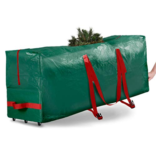 Rolling Large Christmas Tree Storage Bag - Fits Artificial Disassembled Trees, Durable Handles & Wheels for Easy Carrying and Transport - Tear/Waterproof Polyethylene Plastic Duffle Bag (9 Ft., Green)