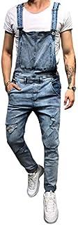 Mens Denim Trousers Bib Overalls Dungarees Stonewash Jeans Jumpsuits